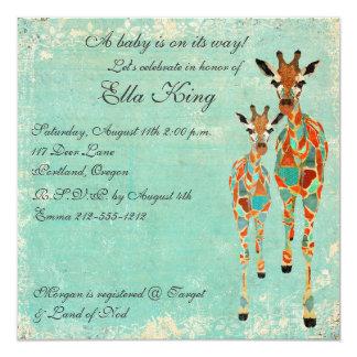 Convite Azure ambarino do bebê dos girafas