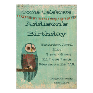 Convite Azure do aniversário da coruja