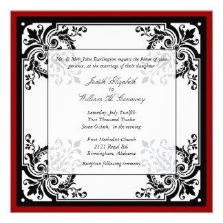 Convite barroco preto, branco, e vermelho do casam