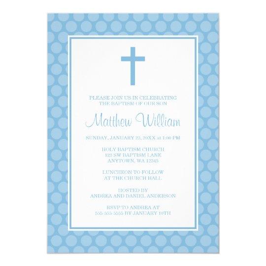 Convite Batismo Branco Azul Do Baptismo Do Menino Da Cruz Zazzle