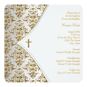 Convites Batizado Do Branco E Ouro Zazzlecombr