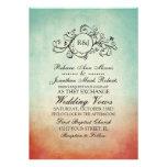 Convite boémio vermelho e azul rústico do casament