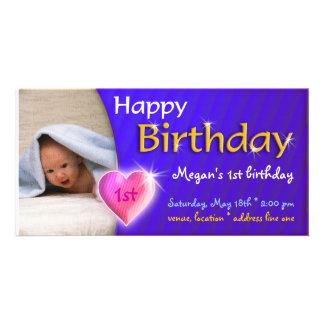 Convite bonito adorável da foto do aniversário de cartão com foto