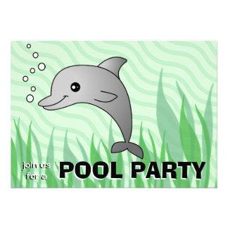 Convite bonito da festa na piscina do golfinho