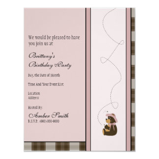 Convite bonito da xadrez de Brown do urso de Brown Convite 10.79 X 13.97cm