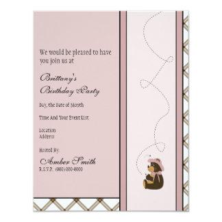 Convite bonito da xadrez do caramelo do urso de convite 10.79 x 13.97cm