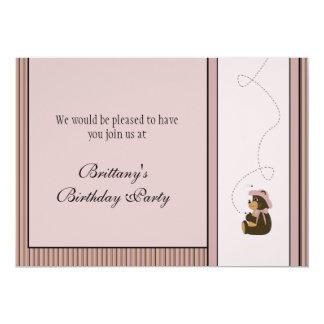 Convite bonito das listras verticais de urso de convite 12.7 x 17.78cm