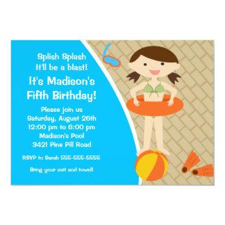 Convite BONITO do aniversário da festa na piscina Convite 12.7 X 17.78cm