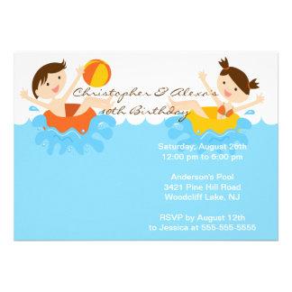 Convite BONITO do aniversário da festa na piscina