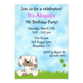 Convite bonito do aniversário do cão de filhote de convite 12.7 x 17.78cm