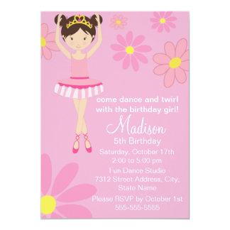 Convite bonito do aniversário do dance party da convite 12.7 x 17.78cm