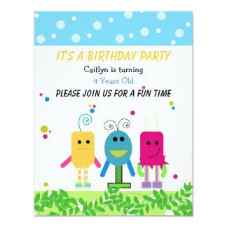 Convite bonito do aniversário do monstro