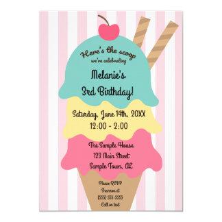 Convite bonito do aniversário do sorvete