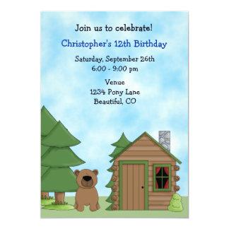 Convite bonito do aniversário do urso & da cabine convite 12.7 x 17.78cm