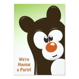 Convite bonito do aniversário do urso de Brown dos