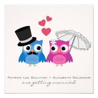 Convite bonito do casamento da coruja do noivo e convite quadrado 13.35 x 13.35cm