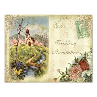 Convite bonito do casamento da igreja do vintage
