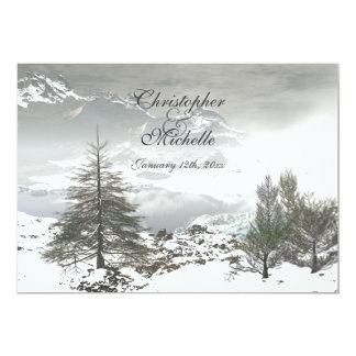 Convite bonito do casamento da montanha do inverno