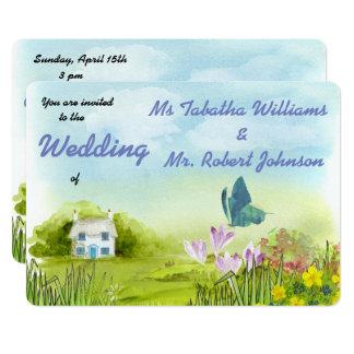Convite bonito do casamento da pintura do cenário