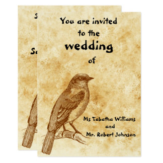 Convite bonito do casamento do design do pássaro