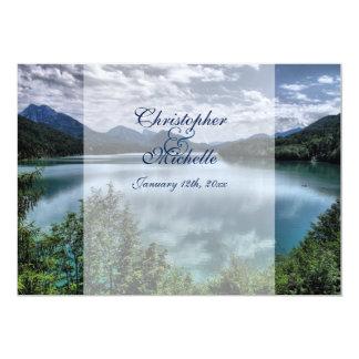 Convite bonito do casamento do lago mountain