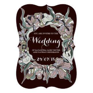 Convite bonito do casamento do quadro de Lillies