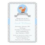 Convite bonito do chá de fraldas do Fox no azul e Convite 12.7 X 17.78cm