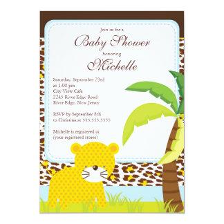 Convite bonito do chá de fraldas do safari de