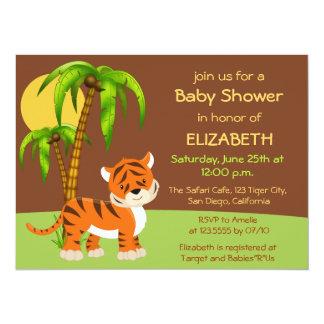 Convite bonito do chá de fraldas do tigre de bebê