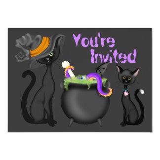 Convite bonito do chá de fraldas dos gatos pretos