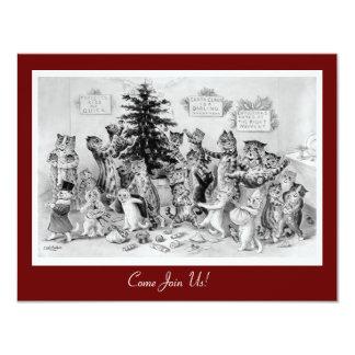 Convite bonito do natal vintage - gatos por Wain