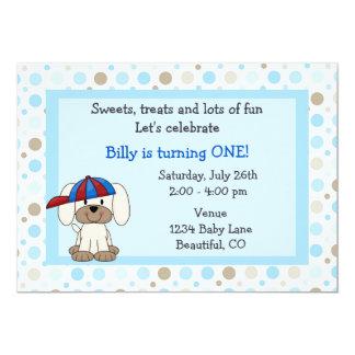 Convite bonito do primeiro aniversario do filhote