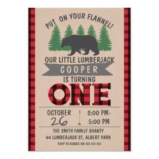 Convite bonito do primeiro aniversario do lenhador