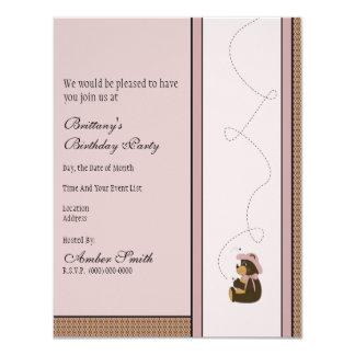 Convite bonito do teste padrão do urso de Brown Convite 10.79 X 13.97cm
