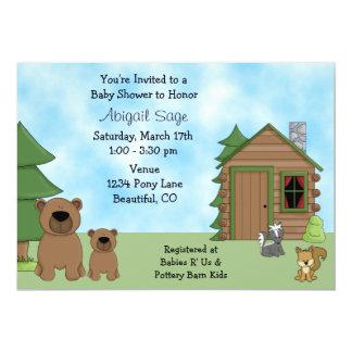 Convite bonito do urso & do chá de fraldas da convite 12.7 x 17.78cm