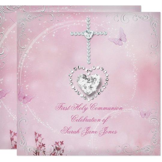 Convite Borboleta Cor De Rosa Branca Do Comunhão Zazzlecombr