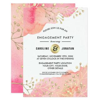 Convite botânico da festa de noivado do pêssego do