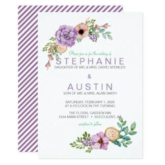 Cartão Convite botânico do casamento do Succulent da