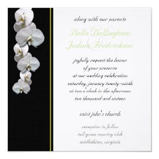 Convite branco 5.25x5.25 do casamento da orquídea
