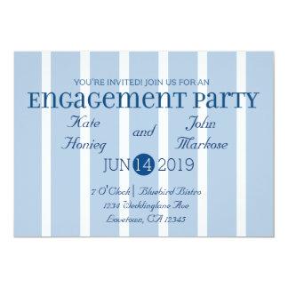 Convite branco azul chique da festa de noivado da