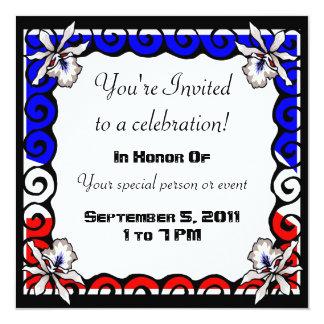 Convite branco & azul vermelho