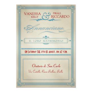 Convite branco & azul vermelho italiano do