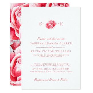 Convite branco cor-de-rosa do casamento da flor |