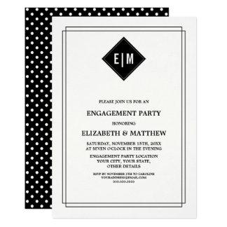 Convite branco da festa de noivado das bolinhas de