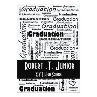 convite branco da graduação do preto da tipografia