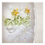 Convite branco do casamento da orquídea