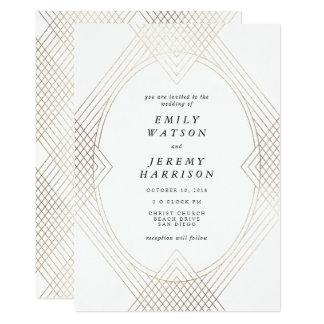 Convite branco do casamento de Gatsby do art deco