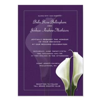 Convite branco do casamento de Lillies do Calla no Convite 12.7 X 17.78cm