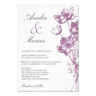 Convite/branco do casamento floral do vintage mini convite 8.89 x 12.7cm