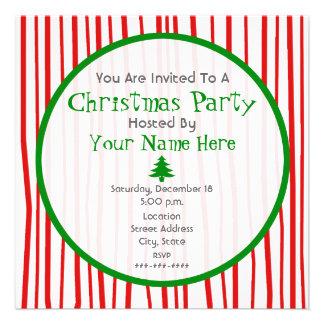 Convite branco e verde vermelho da festa de Natal